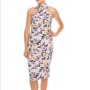 BeBe Lavender Floral Strappy Mock Neck Dress
